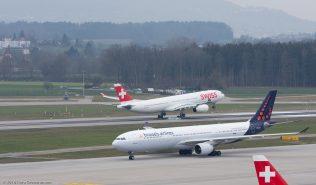BrusselsAirlines_A333_OO-SFV_Swiss_A333_HB-JHL_ZRH160325