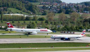 Swiss_A333_HB-JHF_BritishAirways_A321_G-MEDF_ZRH160505