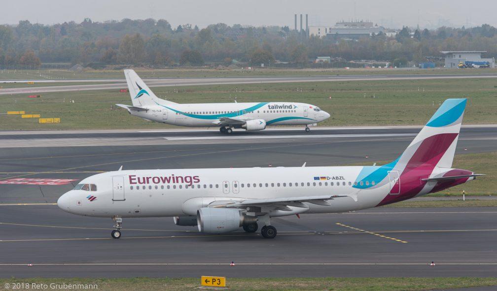 Eurowings_A320_D-ABZL_TailwindAirlines_B734_TC-TLR_DUS181019