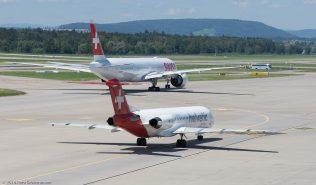 HelveticAirways_F100_HB-JVH_Swiss_B77W_HB-JNF_ZRH160814