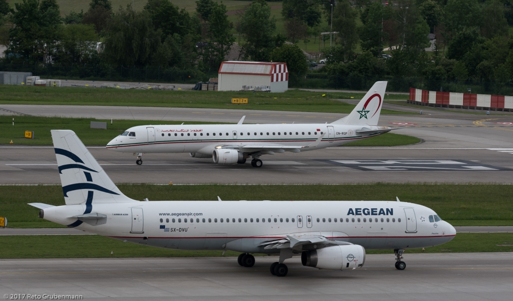 RoyalAirMaroc_E190_CN-RGP_AegeanAirlines_A320_SX-DVU_ZRH170524